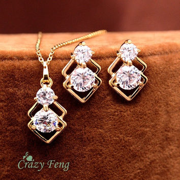 New Hottest Design Women's Yellow Gold Filled CZ stone Necklace Earrings Wedding Jewelry Sets Gifts = 1933121028