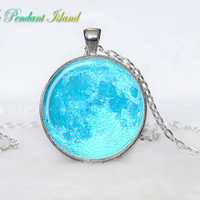 Full Moon Necklace Moon Pendant  Galaxy Space  Blue AquaTurquoise  Jewelry Necklace for men  Art Gifts for Her(P11H03V01)