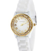 Geneva White Watch Silicone Ceramic Style Band with Smaller Face and Gold Trim and Sparkly Rhinestones