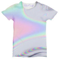 ChainCandy Rainbow Hologram Wave Printed Women's Relaxed T-shirt