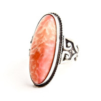 Vintage Sterling Silver Pink Art Glass Ring - Size 5 1/4 Embossed Swirl Costume Jewelry / Oblong Oval