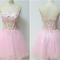 Handmade short homecoming dress, sexy sweetheart beading  homecoming dress/cocktail dress/party dress/short prom dress 8373