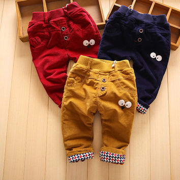 Thick Kids Pants Solid Infant Cotton Trousers Soft Plus Velvet Toddler Trousers Winter New Boys Clothes Corduroy Girls Outerwear