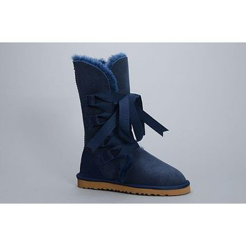 LFMON UGG 1005818 Tall Lace-Up Women Fashion Casual Wool Winter Snow Boots Blue