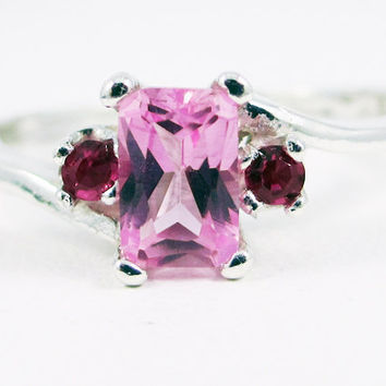 Pink Sapphire Ruby Accent Gemstone Sterling Silver Ring