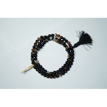 Mogul Black Agate Shark Tooth Tibetan Mala Necklace Prayer Beads 108+1 - Walmart.com