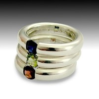 Tension ring Sterling silver and semi precious by artisanlook