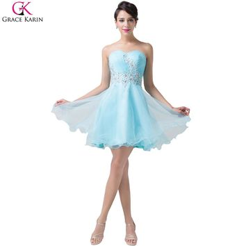 Grace Karin Short Turquoise Cocktail/Prom Dress with Appliques, Beading and Lace.    Unique and Feminine.   In Sizes From 2 to 16.   ***FREE SHIPPING***