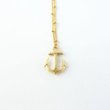Gold anchor necklace | Tiny anchor charm on satellite chain, Nautical jewelry