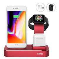 DCK4S2 Apple Watch Charging Stand, Alritz 3 in 1 Aluminum Desktop Charging Station, Charger Dock Holder for Apple iPhone X / 8 / 8 Plus / 7 / 7 Plus, Apple Watch Series 1/2/3, AirPods (Red)