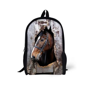 Unique Kids Backpack Cool Crazy Horse Backpack for Teenage Girls Casual Children Student Animal Zebra Backpack Mochila infantil