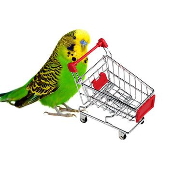Mini Supermarket Shopping Cart Trolley Pet Bird Parrot Hamster Toy Aug25