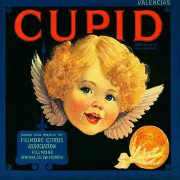 CUPID Vintage Fruit Crate Label Ceramic Photo Tile Plaque Wall Hanging