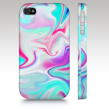iPhone case, iPhone 4 case, iPhone 5 case, hippie, hipster, swirls, marble abstract painting, aqua blue pink white, art for your phone