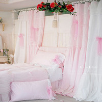 Taobao Pink solid color gentle princess floor the lace fabric bedroom curtains living room curtains white curtains can be customizedxqxoumssnog from English Agent:BuyChina.com