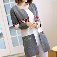 2016 New Fashion Women's Cardigan High Quality Knitted Sweater Female Loose Long Sweater Cardigan
