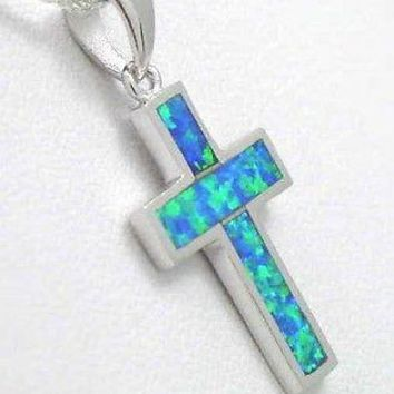 INLAY OPAL IN 925 STERLING SILVER CROSS PENDANT CHARM 6069cbe884