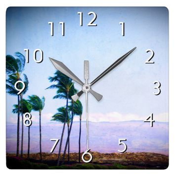 Hawaii palm trees & purple hills photo wall clock