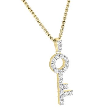 "Men's Sterling Silver Iced Out 14k Gold Finish Hip Hop Lock Key Pendant Free 24"" Box Chain"