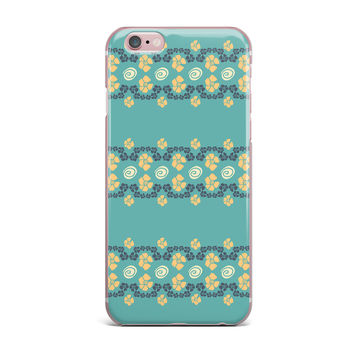 "Zara Martina Mansen ""Teal Flora Formations"" Green Yellow iPhone Case"