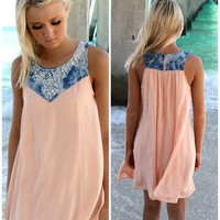 Cruise Wonders Peach & Denim Embellished Neck Sundress