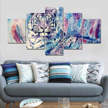5 Pieces Tiger Animal Canvas Panel Prints Abstract Picture Painting Style