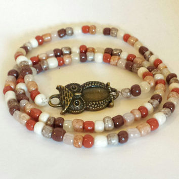 Triple Wrap Stretch Beaded Owl Bracelet. Handmade. OOAK. Jewelry. Woodland.