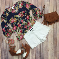 Falling for Florals Blouse: Navy