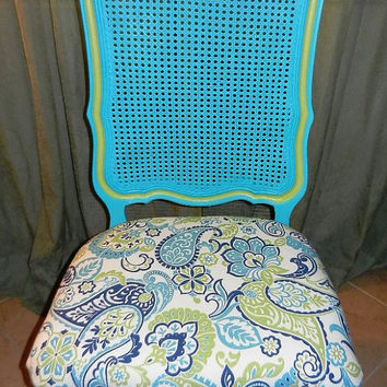Vintage side accent chair ornate wood -paisley print upholstery- custom hand painted repurposed furniture- local Florida pickup