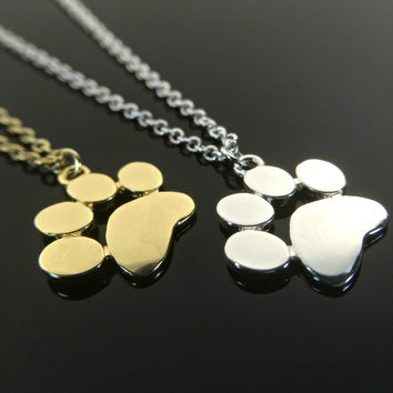 Cat Lovers Gift Dog Lovers Gift Paw Print Necklace Pet Jewelry Pet Memorial Necklace