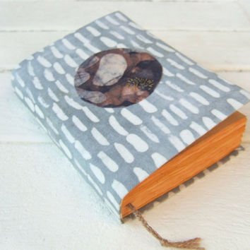 strips white and circle, handmade journal, antique diary, notebook, blank book, journal diary, old pages
