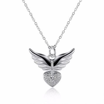 2017 New Fashion Love Heart Angel Wing CZ 925 stamped silver plated Pendant Necklace Inlay Genuine SWA Element Austrian Crystal