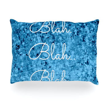 "Ebi Emporium ""Blah Blah Blah"" Blue Glitter Oblong Pillow"