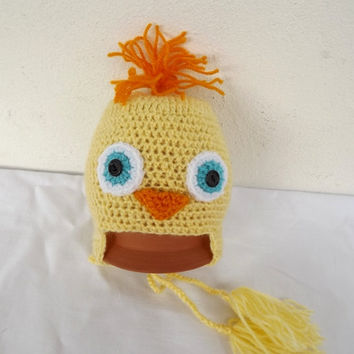 Hand made yellow chicken inspired baby girl beanie, crochet baby hat,