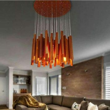Luxury novelty wood modern LED ceiling chandelier indoor lighting fixture for parlor free shipping