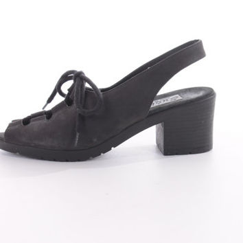 Italian Sudini Suede Leather High Heeled Sandals Black Strappy Sling Back 90s Vintage Shoes Womens Footwear Size US 6.5 UK 4.5 EUR 37