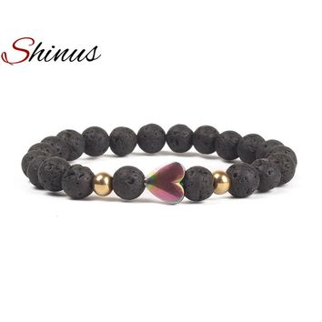 Shinus Love heart Bracelet Boho Mens Chakra Bracelets Women Men Jewelry Natural Lava Rock Stones 8MM Beaded Meditation Healing