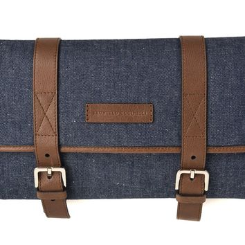 Brunello Cucinelli Men's Denim Leather Travel Fold Up Garment Bag
