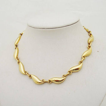 Vintage David Grau Necklace, Gold Tone Necklace by David Grau