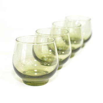 "Olive / Avocado Green Glass Tumblers (Set of 4) - Roly Poly or ""On The Rocks"" Glasses by Libbey, Retro Barware - Vintage Home Decor"