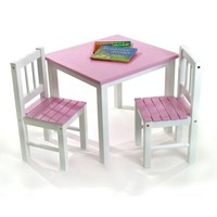 Child's Table & 2 Chairs - Pink & White 310252152