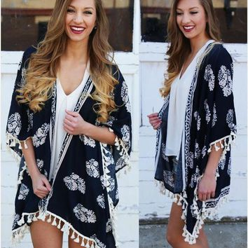ONETOW Fall Style Floral Print Tassels Kimono Jacket [6446685380]