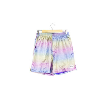 90s IRIDESCENT PASTEL RAINBOW shorts / vintage 1990s / neon / vaporwave / rave / silky / swim trunks / street / surfer / lounge /medium