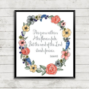 Watercolor Floral Scripture Art, Watercolor, Floral, Scripture, Art Print