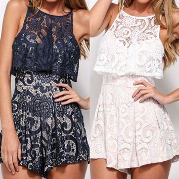 DCCK6HW Women Fashion Casual Sleeveless Frills Hollow Lace Romper Jumpsuit Shorts