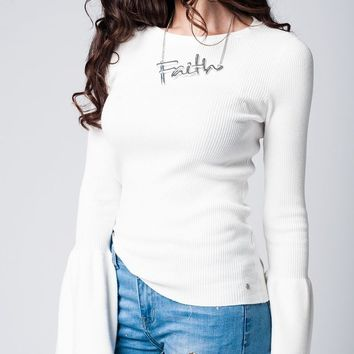 White fine knit texture bell sleeve sweater