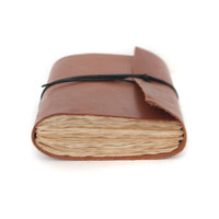 Valentines leather book mini journal cahier chapbook diary notebook blank pages altered paper christmas - brown cinnamon cocoa chocolate