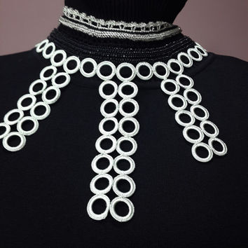 Sole and exclusive necklace-Galactic Filaments --- Black / Gray ... Beaded Crochet Necklace-Desıgn-Night Special Stylish Necklace