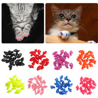 15colors -20pcs/lot Soft Pet Cat Dogs Paws Grooming Nail Claw Cap+Adhesive Glue Paws Caps Cover Protector Christmas Gift