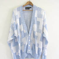 Vintage Button Up Preppy Oversized Sweater Cardigan  //   size XL